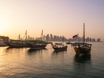 Traditional boats called Dhows are anchored in the port Stock Photography