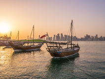 Traditional boats called Dhows are anchored in the port Royalty Free Stock Photography