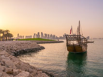 Traditional boats called Dhows are anchored in the port Stock Photos