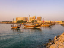 Traditional boats called Dhows are anchored in the port Royalty Free Stock Images