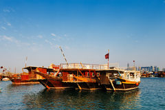 Traditional boats called Dhows in the West Bay Doha, Qatar Royalty Free Stock Photo