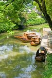 Traditional boats on the canal of Suzhou Royalty Free Stock Photos