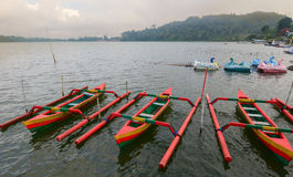 Traditional boats on the Danu lake in Bali, Indonesia Stock Photos
