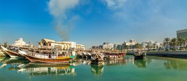 Traditional arabic dhows in Doha, Qatar stock photos