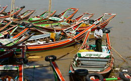 Traditional Boats Docked In Yangon Stock Images