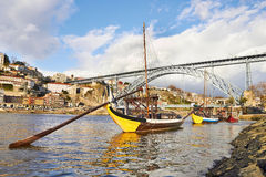 Traditional Boats on douro river Royalty Free Stock Photo