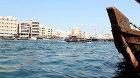 Traditional boats at Dubai creek stock video