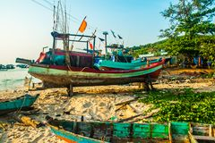 Traditional boats in Fishing village at port, Phu Quoc island, Vietnam. Traditional boats in Fishing village at port, Phu Quoc island in Vietnam royalty free stock photo