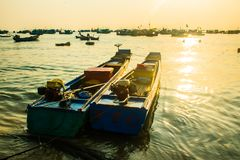 Traditional boats in Fishing village at port, Phu Quoc island, Vietnam. Traditional boats in Fishing village at port, Phu Quoc island in Vietnam royalty free stock image