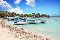 Traditional boats on Gili Meno beach in Indonesia. Asia Royalty Free Stock Images