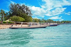 Traditional boats on Gili Meno beach in Indonesia Stock Photography