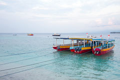 Traditional boats on Gili Meno in Indonesia Royalty Free Stock Photos