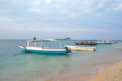 Traditional boats on Gili Meno in Indonesia Stock Images