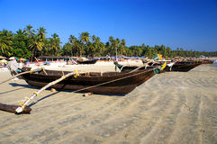 Traditional boats of Goa. Traditional boats at the beach of Palolem, Goa state, India Royalty Free Stock Images