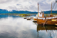 Traditional boats at Haholmen island, Norway stock images