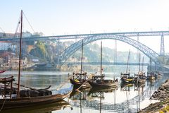 Free Traditional  Boats In The Morning On River Douro With Porto City In The Background, Portugal Stock Images - 142541024