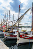 Traditional boats in port of Sanary-sur-Mer , Var, France royalty free stock image