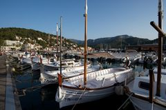Traditional Boats in Port Soller. These are the traditional wooden boats used in Spain. Taken in Port Soller, Mallorca stock photography
