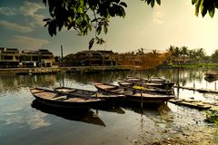 Traditional boats and river,  Hoian - Vietnam Royalty Free Stock Photos