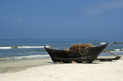 Traditional boats  on South Goa beach Stock Photos