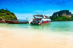 traditional boats on Talay Waek Beach, Krabi Thailand Royalty Free Stock Photography