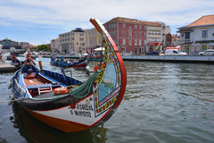 Traditional boats in Vouga river, Aveiro, Portugal Royalty Free Stock Photography