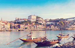 Traditional boats with wine barrels, old Porto Royalty Free Stock Photo