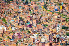 Traditional bolivian houses in La Paz city, Bolivia. Traditional bolivian houses on the hills in La Paz city, Bolivia Royalty Free Stock Photography