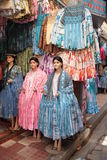 Traditional Bolivian women's clothes in a fashion store Stock Images