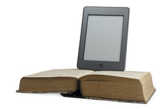Traditional book and electronic book. Electronic Book and  printed book.Isolated Stock Photos