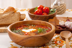 Traditional  borsch. Ukrainian and russian traditional  borsch with beetroot, cabbage and tomato Royalty Free Stock Image