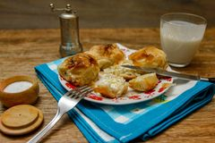 Traditional Bosnian pastry- manti borek stock image