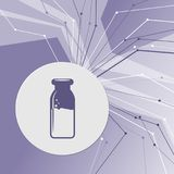 Traditional bottle of milk icon on purple abstract modern background. The lines in all directions. With room for your advertising. Illustration Stock Photos