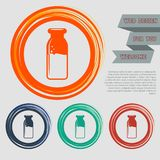 Traditional bottle of milk icon on the red, blue, green, orange buttons for your website and design with space text. Illustration Stock Images