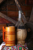 Traditional bottle of wine Stock Images