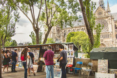 Traditional Bouquiniste booth on the edge of the Seine royalty free stock images