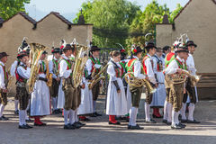 Traditional brass band in South tyrol Stock Photos