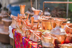 Traditional brass pots Stock Images