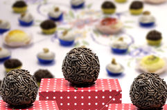 Traditional Brazilian Brigadeiro for the birthday party Stock Photography
