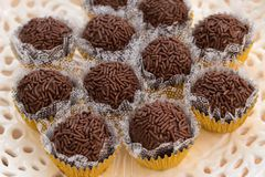 Delicious Brigadeiro, traditional brazilian food on white plate stock images