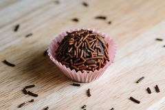 Traditional Brazilian Sweet `Brigadeiro` royalty free stock photos