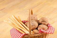 Traditional bread basket Stock Images