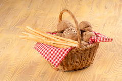 Traditional bread basket on table Stock Image