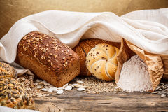 Traditional bread and bun Stock Images
