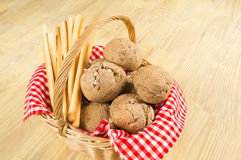 Traditional bread and grissini basket Royalty Free Stock Photography