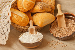 Traditional bread with main ingredients Royalty Free Stock Photos