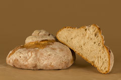 Traditional bread open in half Royalty Free Stock Photo