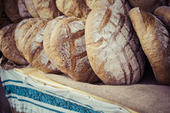 Traditional bread in polish food market in Krakow, Poland. Royalty Free Stock Photography