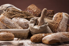 Traditional bread on wooden table Royalty Free Stock Photos