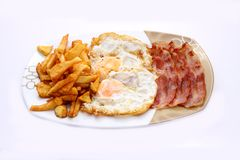 Traditional breakfast. Egg, bacon and potatoes, a good breakfast Stock Image